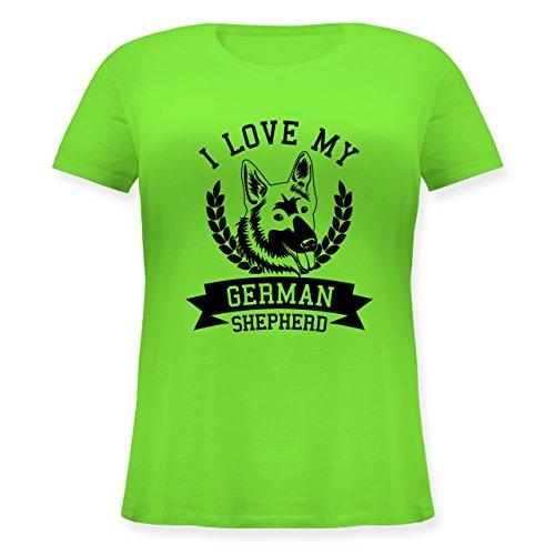Shirtracer Hunde - I Love My German Shepherd - Lockeres Damen-Shirt in Großen Größen mit Rundhalsausschnitt Hellgrün