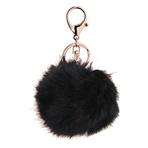 Porte-clés Pompon Boule de Fourrure de Lapin Artificielle - Noir