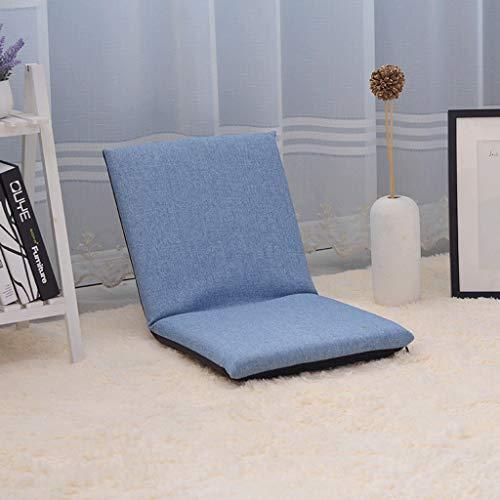 Tft pieghevole sedia sedia da terra cuscino meditazione, pieghevole singolo piccolo divano, divano letto schienale balcone finestra pieghevole cuscino divano sedia (colore : blu)