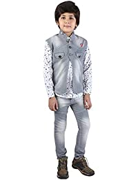 Z&G Boys Suit Set of 3 with Full Sleeves Blue Denim Jacket,Pants & White Shirt