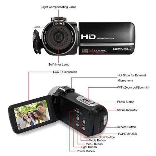 Cozime-Videocamera-Handycam-Full-HD-1080P-IPS-Schermo-Camcorder-24-Megapixel-Digitalle-Zoom-16X-Fotocamera-Supporto-Lampada-a-Led-Per-La-Compensazione-Della-Luce