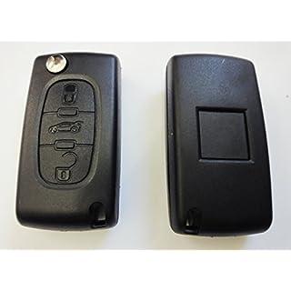 Citroenks03 - Schlüsselgehäuse mit 3 Tasten und Batterieklemme Auto Schlüssel Fernbedienung Klappschlüssel Funkschlüssel Gehäuse. Jurmann Trade GmbH® (für Citroen 03)