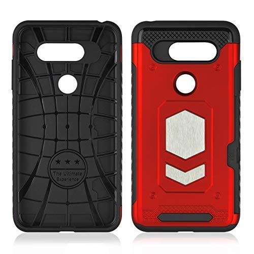 Aanib LG V30 ES Hülle, LG V30 ES Tasche mit Ringständer von 360 Grad drehbarer Ring Grip Case, Dual Layer Stoßfest Schlagschutz Kompatibel mit Car Mount (red) -