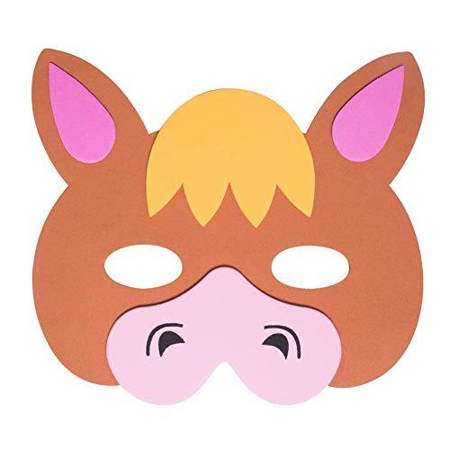 Werbewas 1x Schaumstoff Masken mit Pferd Tiermotiv - als Karnevals, Halloween, Geburtstags-Party Kostüm
