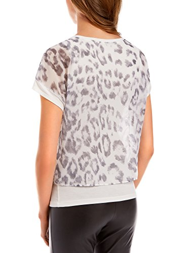 oodji Collection Donna Blusa Stampata Multimateriale Bianco (1223P)