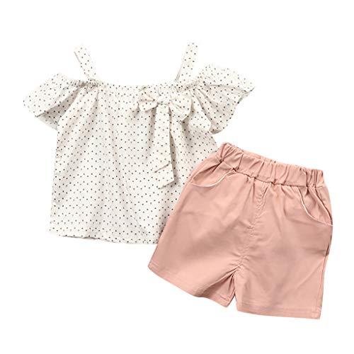 DressLksnf Baby Mädchen Kinderkleidung Set Kleinkind Ärmellos Sling Wellenpunkt Drucken Tops + Einfarbig Shorts 2Pcs Set -
