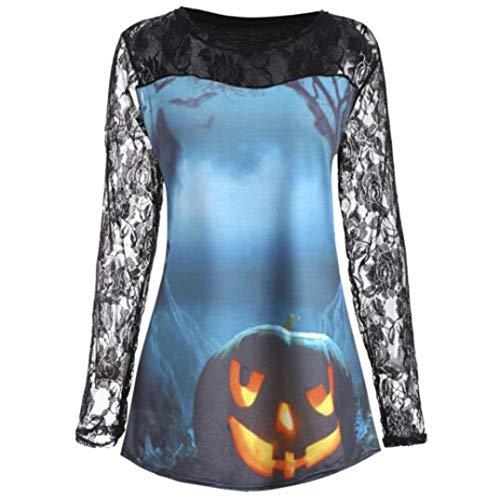 UFACE Halloween Lady Pumpkin Teufel Print Spitze Panel Langarm Top Halloween Kürbis Design T-shirt Bluse Spitze Einfügen Shirt zu(Blau,XL)