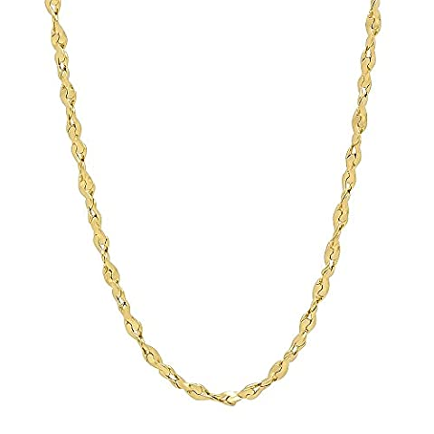 2.7mm 24K Gold Plated Twist Nugget Chain Necklace, 56 cm + Microfiber Jewelry Polishing Cloth