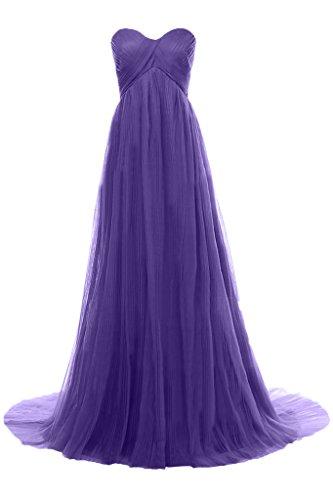 Milano Bride Edel Einfach Traegerlos Lang Tuell Abendkleider Festkleider Brautjungferinkleider Faltenwurf Lavandel
