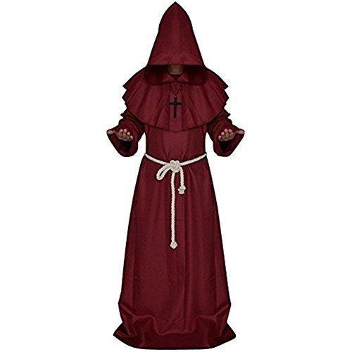 wand mit Kapuze Bademantel Mittelalter Mönche Halloween Dekoration Kostüm Fancy Dress Party Standard Kostüm Renaissance Priester Gewand (Renaissance Gewand)