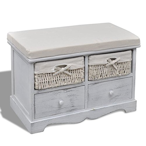 vidaXL Banco de almacenamiento de madera blanco 2 cestas tejidas 2 caj