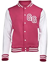 KIDS FRONT INITIAL STEP PERSONALISATION VARSITY JACKET (Hot Pink / White) - By 123t Slogans