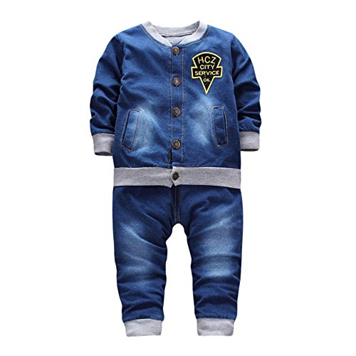 Baby Set Outfit Unisex Mädchen Jungen Letter drucken Denim jacke Super cool Strickjacke Coat Tops + lang Relaxed jeans Hosen Bodysuit Kleidung zwei Stück Set (M, Blau)