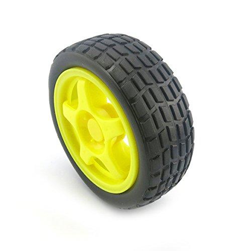YJZ 2pcs gelbes 65mm intelligentes Auto-Modell-Reifen-Rad-Roboter-Teil DIY Spielzeug RC TT Motor