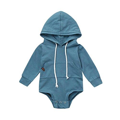 Longra Baby Mädchen Jungen Langarm Bodys mit Kapuze Baby Strampelhöschen Overall Unisex Babymode Kapuzenpullover Sweatshirts Schlafstrampler (80CM 6Monate, Blue) (Neugeborene Jungen Kleidung Elch)