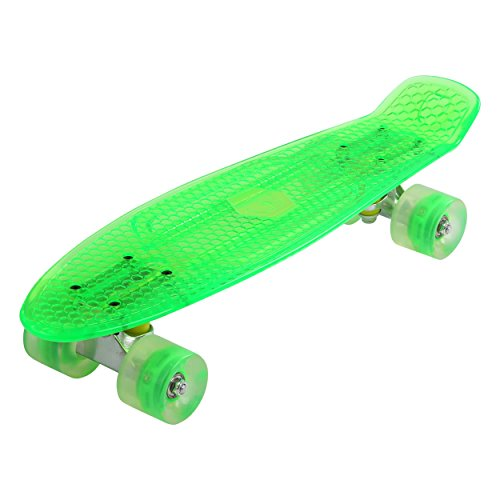 57cm Mini Cruiser board Retro Skateboard mit LED Leuchtrollen und Aluminium Trucks ABEC-7 Classics (Transparent Grün)