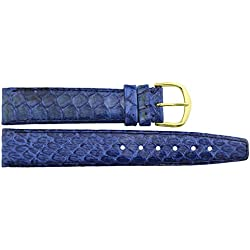 Watch Strap in Blue PU - 18mm - snake skin - buckle in Gold stainless steel - B18BluSna33G