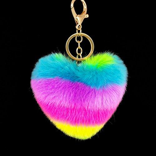 Kalttoy - Llavero con forma de corazón arcoíris para colgarlo, juguete de peluche, colgante de pompón, llavero