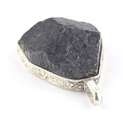 Pendentif de cristal de tourmaline noire serti d'argent 925, 26x24x11 mm