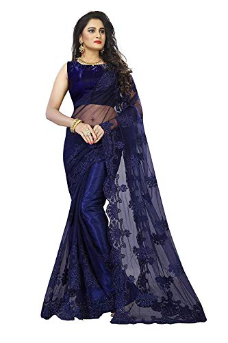 Surat Creations Designer Navy Dark Royal Blue Net Saree with Embroidery And Pearl Work