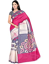 Winza Designer Saree with Blouse Piece (1217_White and Trendy Pink_Free Size)