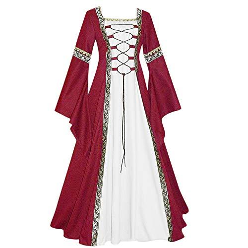 ♥ Loveso♥ Damen Langarm Renaissance Mittelalterliche Kleid mit Trompetenärmel Mittelalter Party Kostüm Maxikleid (Kostüme Renaissance Muster)