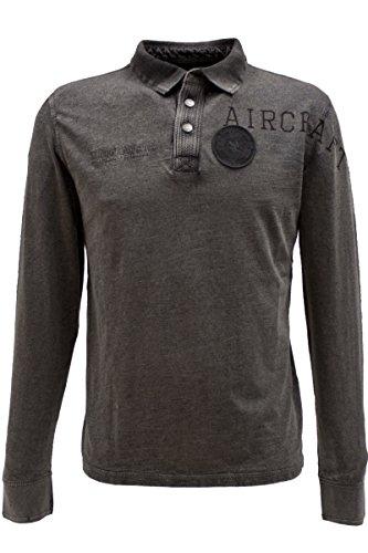 "TOM TAILOR Longsleeve Polo-Shirt ""Aircraft"" in 2 Farben Grau"