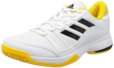 adidas Men's Barricade Court Tennis Shoes, Black (Footwear White/Core Black/Eqt Yellow), 11 UK