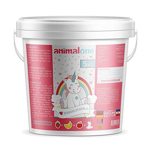 animalone - PFERDELECKERLIS Einhorn-Mix - DAS ORIGINAL - 5 KG Eimer mit Apfel, Banane & Erdbeere - das gesunde Leckerli für Ponys, Pferde und Einhörner