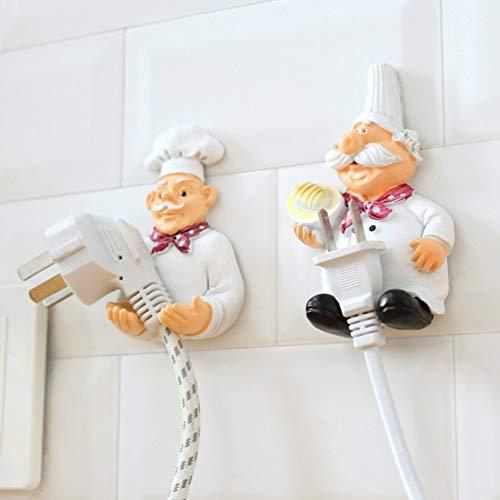 Oyamihin 1 lozas Keuken Cartoon Chef Stijl Hars Netsnoer Opbergrek Muur Percha...