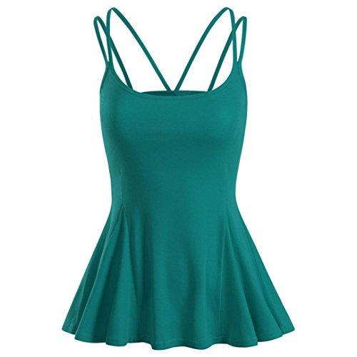 OSYARD Damen Sommer Strand Weste Top ärmellose Bluse Casual Tank Lose Tops T-Shirt(EU 46/XL, Green)