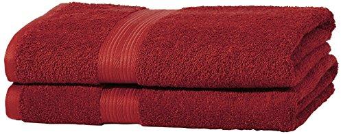 AmazonBasics Handtuch-Set, ausbleichsicher, 2 Badetücher, Rot, 100% Baumwolle 500g/m² (Badetücher)