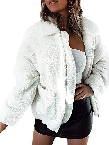 ECOWISH Damen Mantel Revers Faux Für Lose Langarm Outwear Tasche Reißverschluss Winterjacke Mode Kurz Coat 0974Weiß S