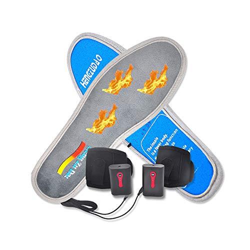 QAZXC Solette Riscaldate Solette Scaldapiedi Solette Termiche A Batteria 3 Livelli di Calore Lavabili per Stivali da Uomo Invernali Caccia Pesca Trekking Campeggio,46