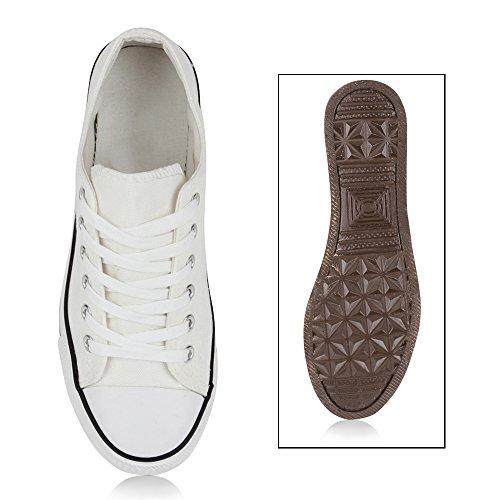 Damen Sneakers Sportschuhe Freizeit Schnürer Weiß