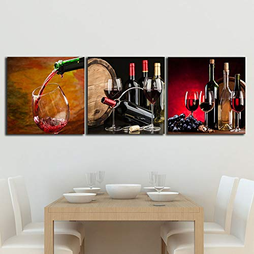 Vintage Giclee Canvas (YANGMAN Art Red Wine Cups HD Modern Abstract Giclee Canvas Prints Artwork Contemporary Vintage Pictures Paintings on Canvas Wall Art for Kitchen Home Decorations,WithFramed,60x60cmx3pcs)