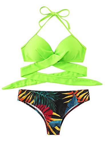 DIDK Damen Bademode Push Up Bikini Set Zweiteilige Badeanzug Strandkleidung Crossover Neckholder Triangel Oberteil Strandmode Sport Split Blumen Bikinihose Hellgrün M - Bikini-kreuz