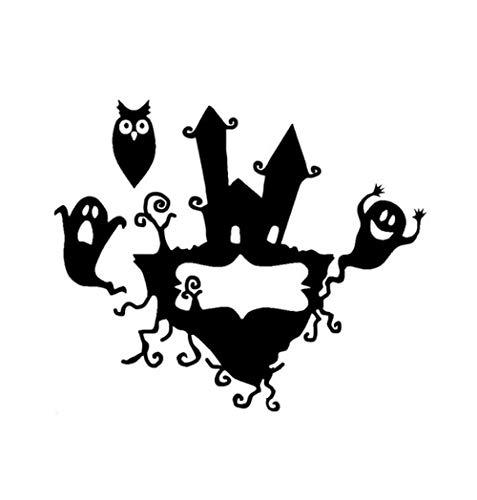 Autoaufkleber 13,8 * 11,6 CM Halloween Scary Fledermäuse Haus Baum Party Vinyl Decor Auto Aufkleber Zubehör 2 Stück