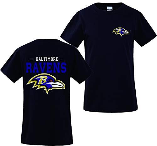 Männer 3D Shirt Baltimore Ravens NFL Digitaldruck T-Shirt Muster Gedruckt T-Shirt(XXXL,Schwarz)