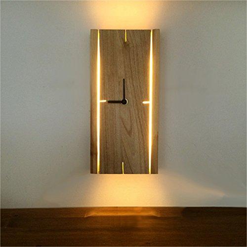 HOIHO LED Holz Tischlampe Wand Mute Uhr Nordic minimalistische moderne Veranda Wohnzimmer Schlafzimmer Wandleuchte (Shape : B)
