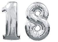 Palloncino Numero 18 Gigante in mylar altezza 100 cm. COLORE ARGENTO Palloncino in Mylar con valvola Adatto per il gonfiaggio ad aria e/o gas elio. CONSIGLI UTILI: Gonfiare i palloncini esclusivamente ad aria e con una pompa manuale specifica...