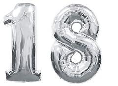 Idea Regalo - ocballoons® Palloncino 18 Anni Mylar Numero colore ARGENTO altezza 100 cm compleanno festa Gas elio