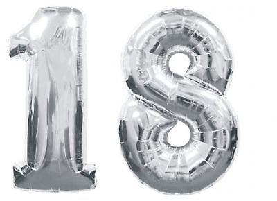 ocballoons-Palloncino-18-Anni-Mylar-Numero-colore-ARGENTO-altezza-100-cm-compleanno-festa-Gas-elio