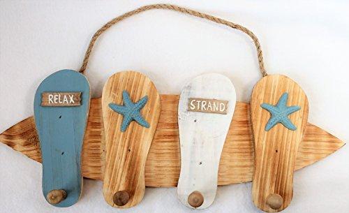 4er Wandhaken Holz Badelatschen Surfbrett Maritime Hakenleiste