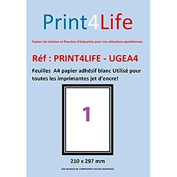 100 feuilles a4 papier adh sif blanc utilis pour toutes les imprimantes jet d 39 encre amazon. Black Bedroom Furniture Sets. Home Design Ideas