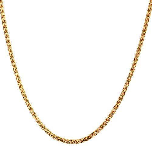 U7 3 mm Weizenkette Halkette 18k vergoldet Edelstahl Ersatz Kette für Anhänger Männer Frauen Basis Kette Länge 66 cm, Gold-Ton -