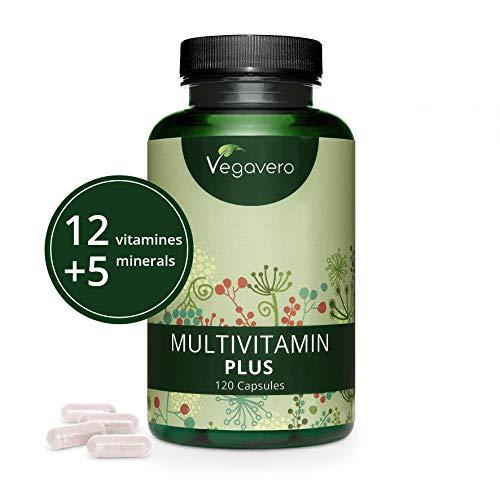 Multivitaminas NATURAL Vegavero® | EL ÚNICO SIN ADITIVOS | Apto Para Veganos | 120 Cápsulas | 12 Vitaminas + 5 Minerales | Para Hombre y Mujer