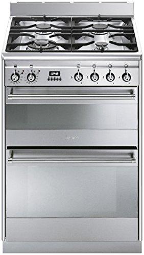 Smeg SUK62MX8 cuisinière - fours et cuisinières (Autonome, Electrique, Gaz, 50 - 245 °C, A-10%, Acier inoxydable)