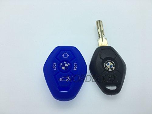 Étui de protection pour télécommande porte-clé en silicone pour BMW 3 E35 E46 E90 E39 38 36 E91 E60 65 66 67 E61 E53 BMW Série 3 5 6 7 modèle M Sport 3 M3 M5 X5 X6 7 Z3 Z4 (Bleu)