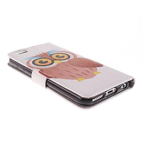 Ekakashop iPhone 6 Cover, iPhone 6S Custodia in pelle, Copertura di Vibrazione pelle con Magnete Flip Carina Balena Blue Case Stile del Libro di pelle della Protezione di caso del basamento della Cope Owl